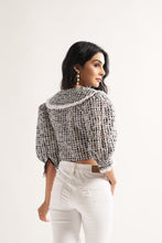 Load image into Gallery viewer, Check Collared Crop Blouse