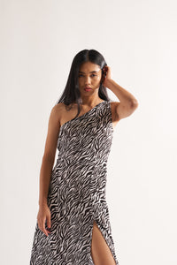 One shoulder zebra dress
