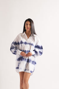 Indigo Tie Dye Shirt Dress