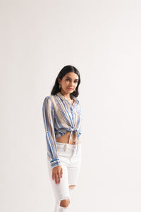 Lurex Stripe Knot Top
