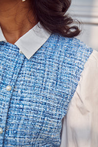 Blue Tweed-Poplin Dress