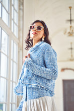 Load image into Gallery viewer, Blue Tweed Fringed Coat