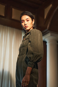 Olive Denim Jumpsuit