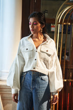 Load image into Gallery viewer, White denim Jacket with contrasting stitch
