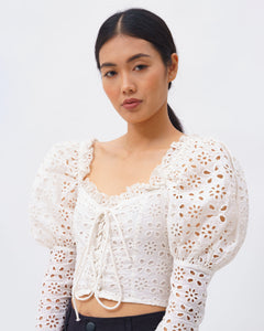 Power Lace top with Cut Out Embroidery