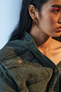 Olive Denim Embellished Jacket