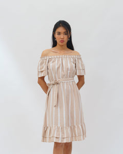 Striped Frill Dress with a belt