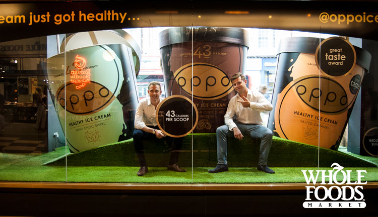 Charlie & Harry In A Whole Foods Market Window With Giant Ice Cream Tubs