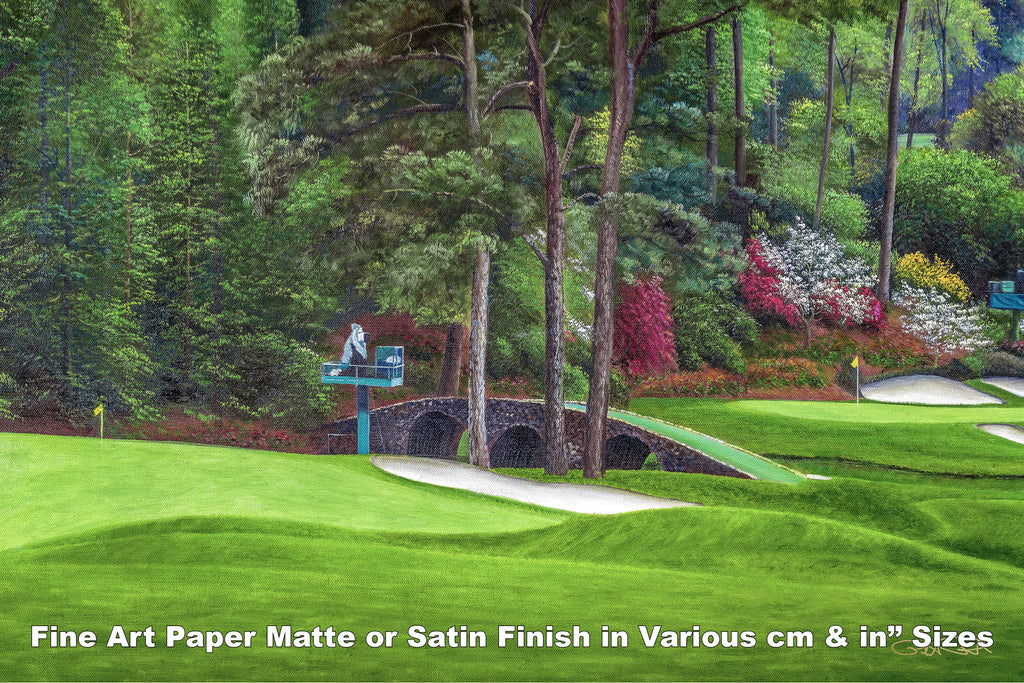 Augusta National Amen Corner Golden Bell Hole 12 White Dogwood 11 Golf Club Masters golf course oil painting Art Prints 2112 Fine Art Paper Print 16x24in 40x60cm - PGAgolfArt.com Professional Golf Art & Photos