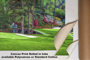 Augusta National Amen Corner Golden Bell Hole 12 White Dogwood 11 Golf Club Masters golf course oil painting Art Prints 2112 Standard Cotton Canvas 16x24in 40x60cm - PGAgolfArt.com Professional Golf Art & Photos