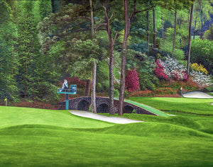 Augusta National Amen Corner Golden Bell Hole 12 White Dogwood 11 Golf Club Masters golf course oil painting Art Prints 2112 Fine Art Paper Print 16x20in 40x50cm - PGAgolfArt.com Professional Golf Art & Photos