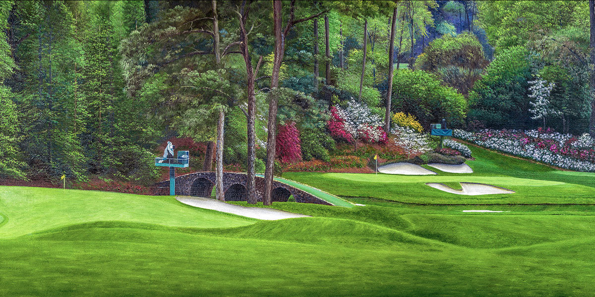 Augusta National Amen Corner Golden Bell Hole 12 White Dogwood 11 Golf Club Masters golf course oil painting Art Prints 2112 Standard Cotton Canvas 16x32in 41x81cm - PGAgolfArt.com Professional Golf Art & Photos