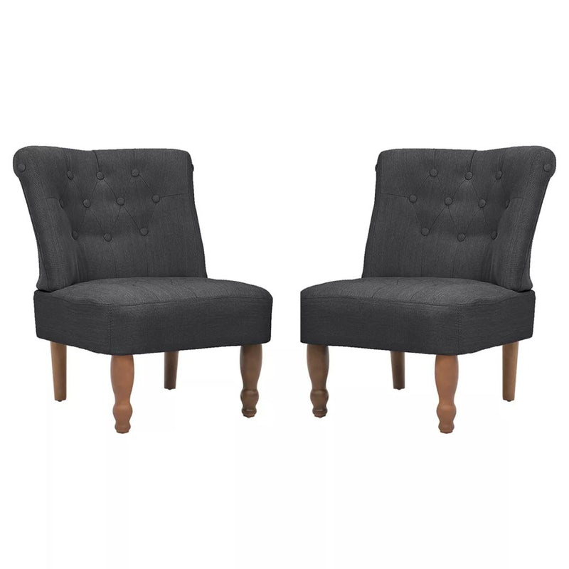 French Chairs 2 pcs Grey Fabric