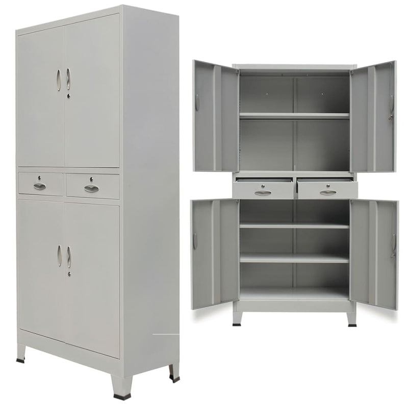 Office Cabinet with 4 Doors Steel 90x40x180 cm Grey