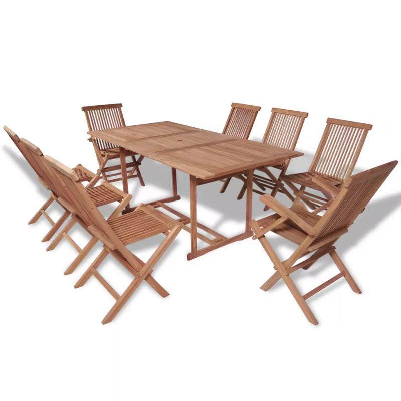 9 Piece Outdoor Dining Set with Folding Chairs Solid Teak Wood