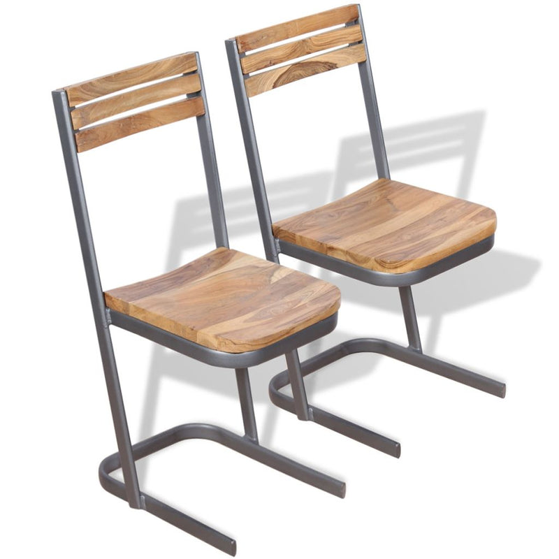 Dining Chairs 2 pcs Solid Teak Wood