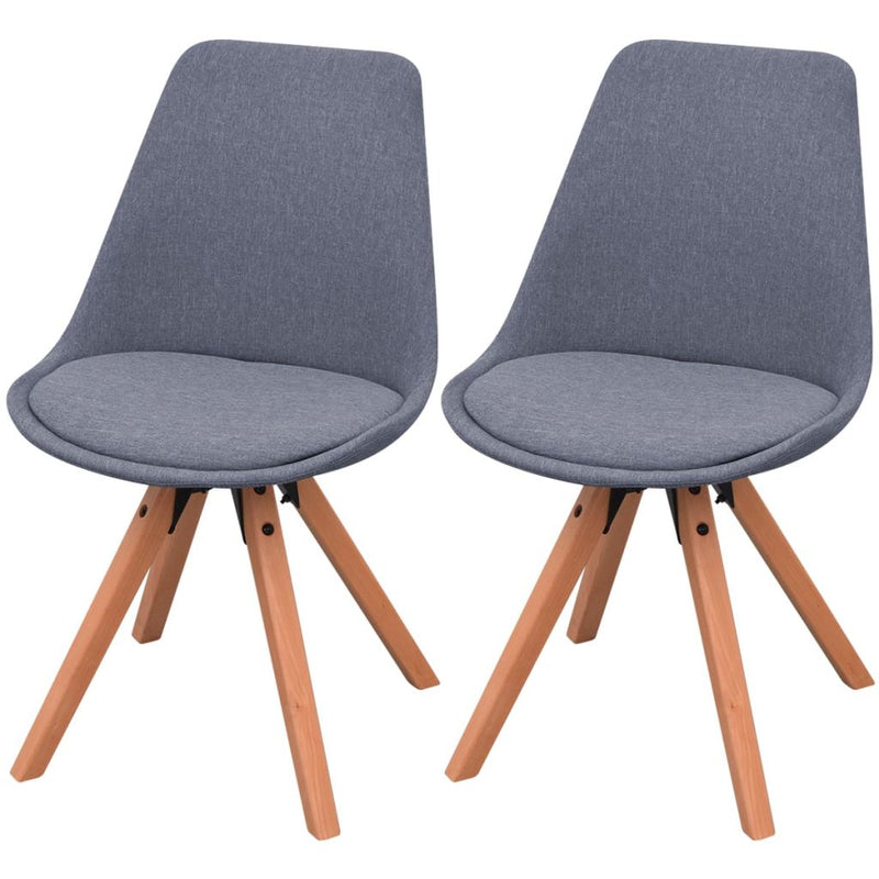 Dining Chairs 2 pcs Light Grey Fabric