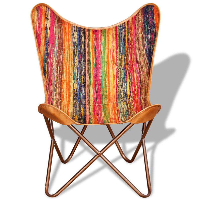 Butterfly Chair Multicolour Chindi Fabric
