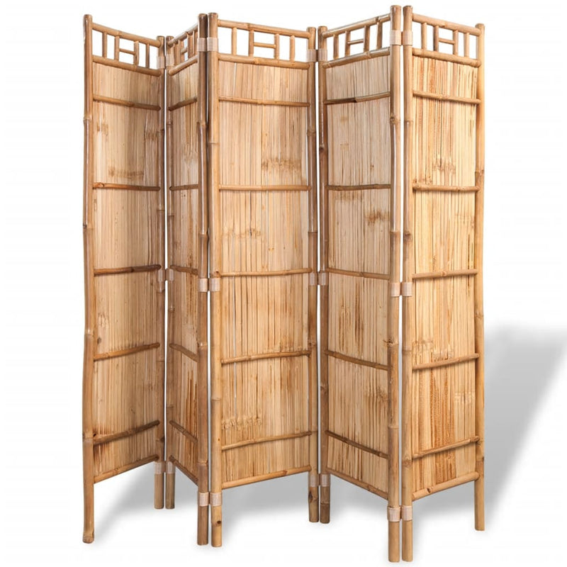 5-Panel Room Divider Bamboo 200x160 cm