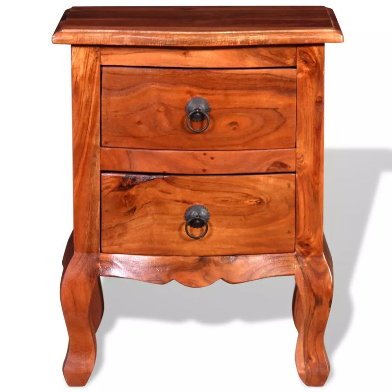 Nightstands with Drawers 2 pcs Solid Acacia Wood
