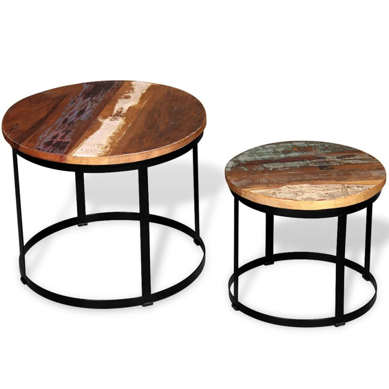 Coffee Table Set 2 Pieces Solid Reclaimed Wood Round 40/50cm