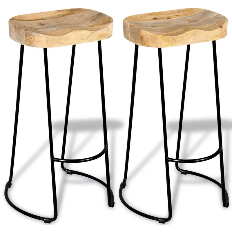 Bar Stools 2 pcs Solid Mango Wood