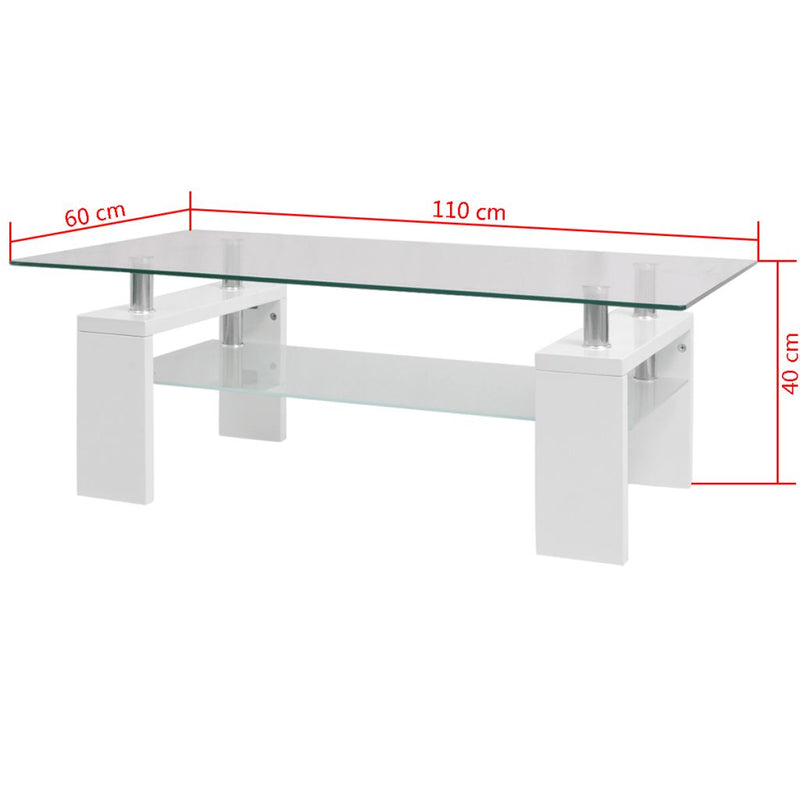 High-Gloss Coffee Table with Lower Shelf 110x60x40 cm White