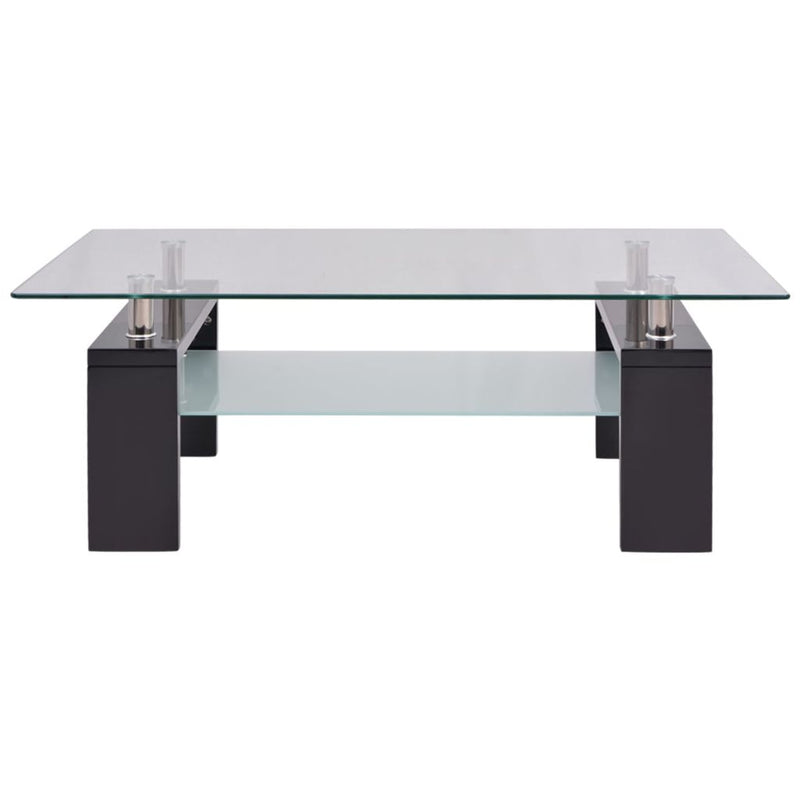 High-Gloss Coffee Table with Lower Shelf 110x60x40 cm Black