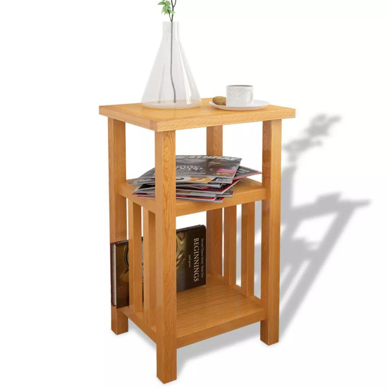 End Table with Magazine Shelf 27x35x55 cm Solid Oak Wood
