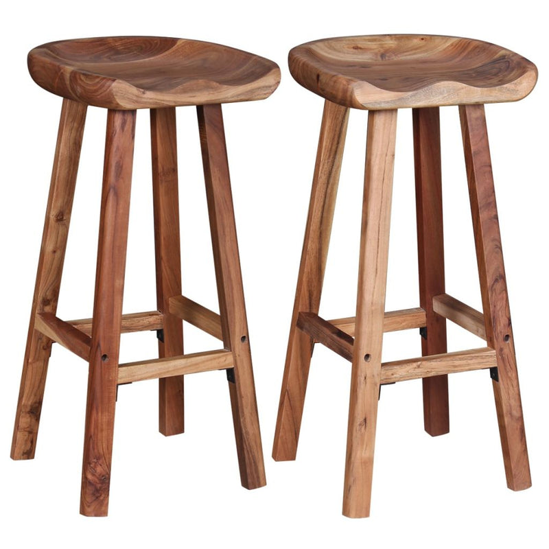 Bar Stools 2 pcs Solid Acacia Wood