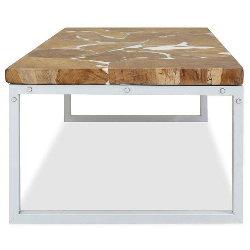 Coffee Table Teak Resin 110x60x40 cm White and Brown