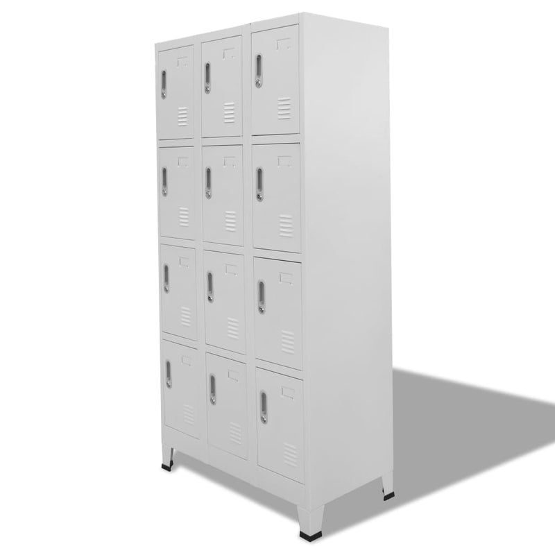 Locker Cabinet with 12 Compartments 90x45x180 cm