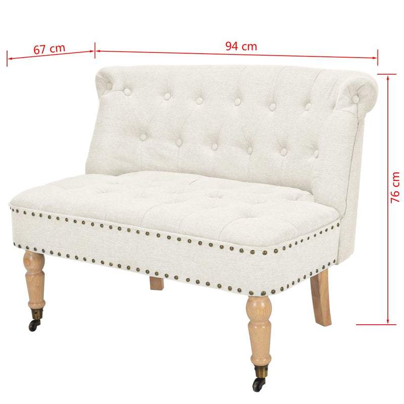 Loveseat Fabric 94x67x76 cm White