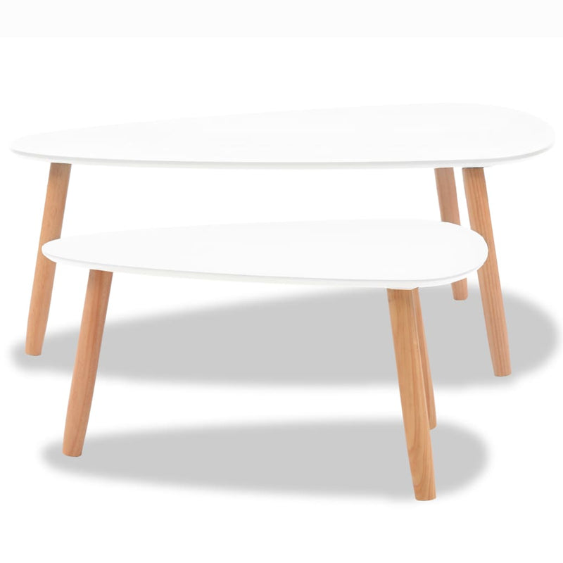Coffee Table Set 2 Pieces Solid Pinewood White