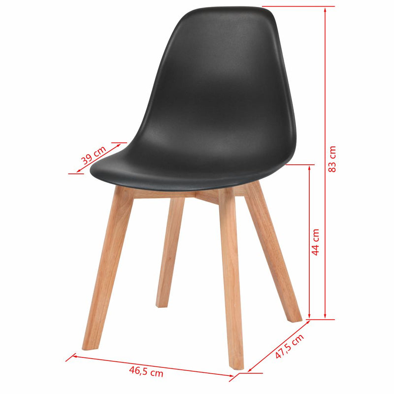 Dining Chairs 4 pcs Black Plastic