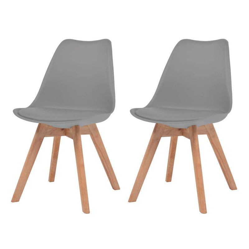 Dining Chairs 2 pcs Grey Faux Leather