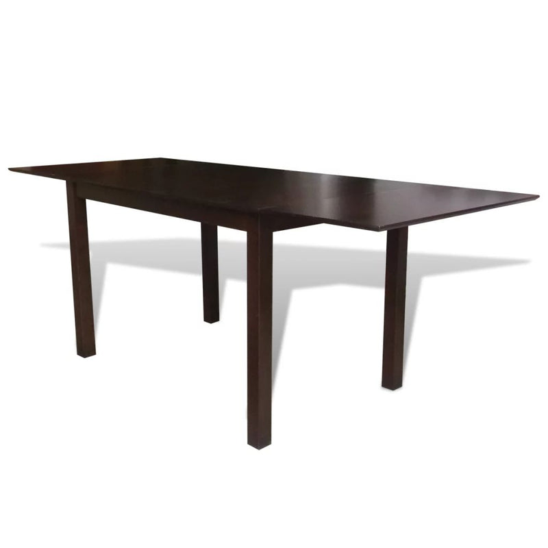 Extending Dining Table Rubberwood Brown 190 cm