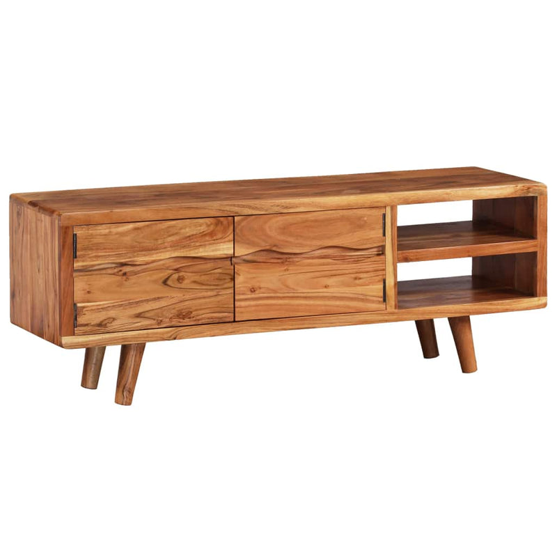 TV Cabinet Solid Acacia Wood with Carved Doors 117x30x40 cm