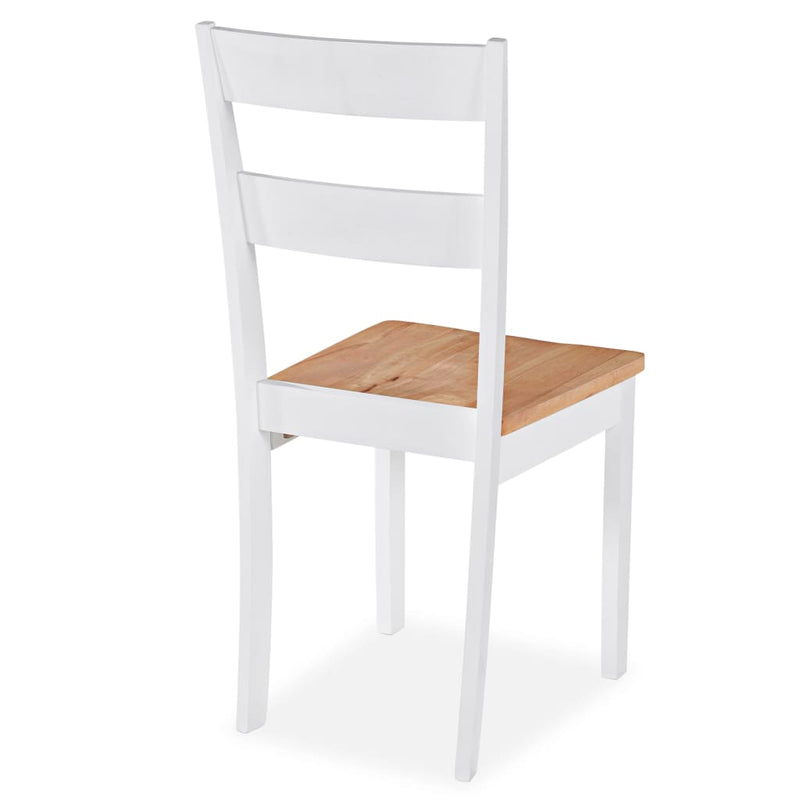 Dining Chairs 4 pcs White Solid Rubber Wood