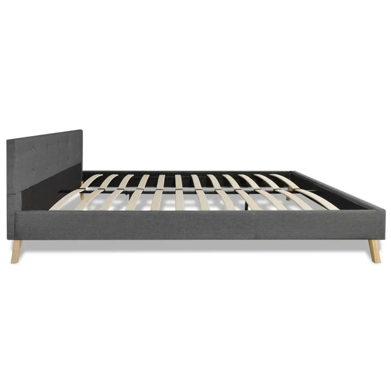 Bed Frame Dark Grey Fabric Queen Size