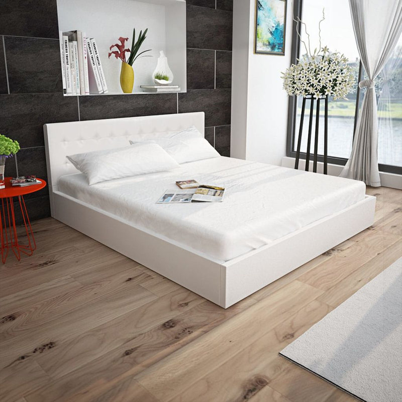 Bed Frame White Faux Leather King Size