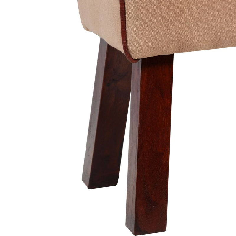 Bench Genuine Leather and Canvas Beige and Brown 60x30x50 cm
