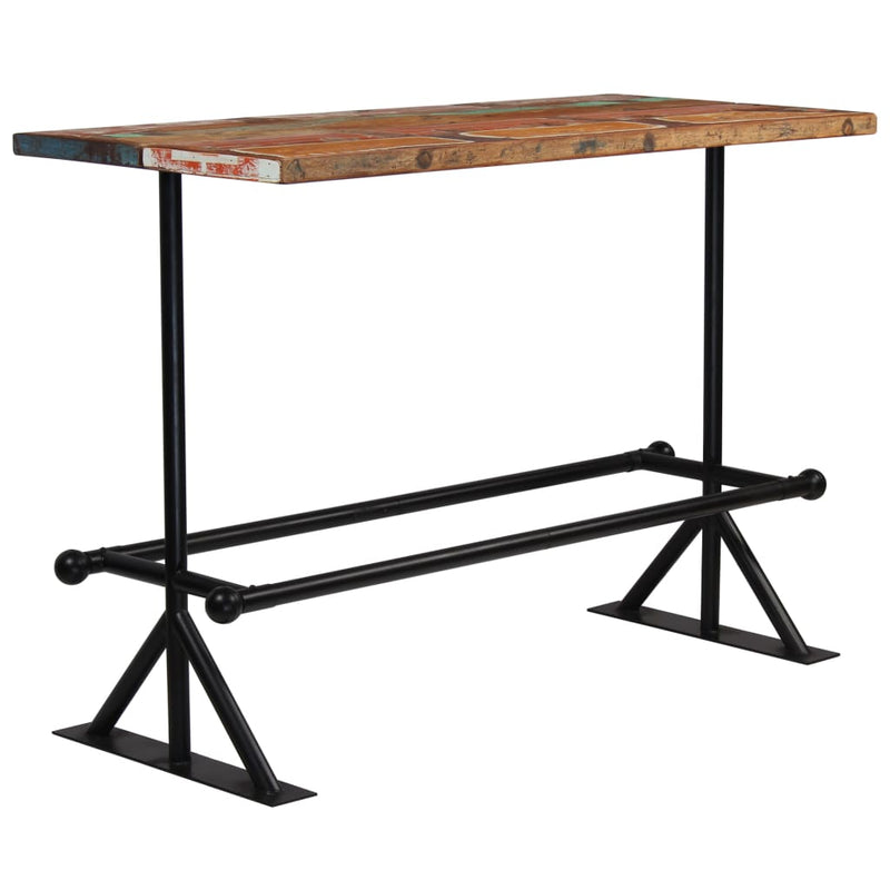 Bar Table Solid Reclaimed Wood Multicolour 150x70x107 cm