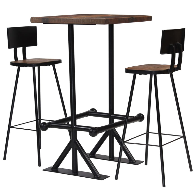 Bar Set 3 Piece Solid Reclaimed Wood