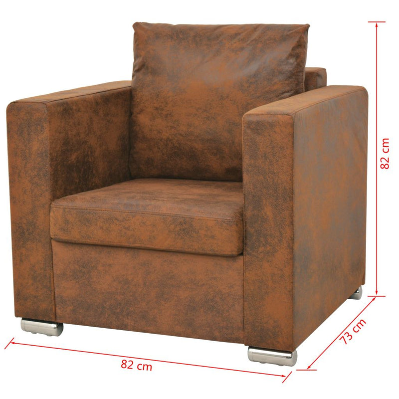 Sofa Set 2 Pieces Artificial Suede Leather