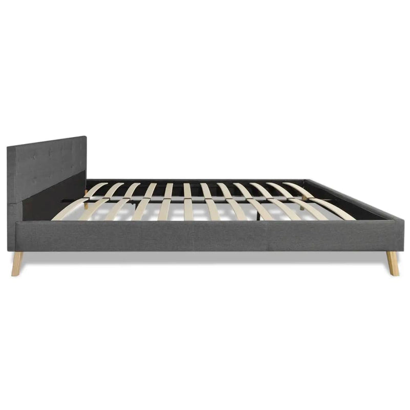 Bed with Memory Foam Mattress Dark Grey Fabric King Size
