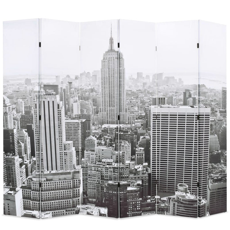 Folding Room Divider 228x170 cm New York by Day Black and White