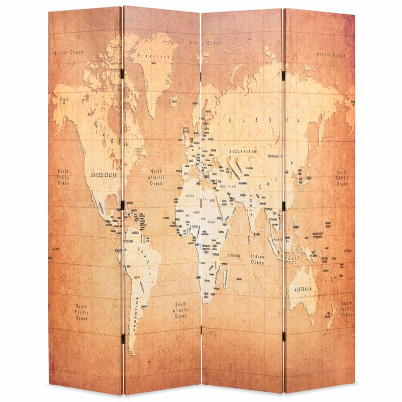Folding Room Divider 160x180 cm World Map Yellow
