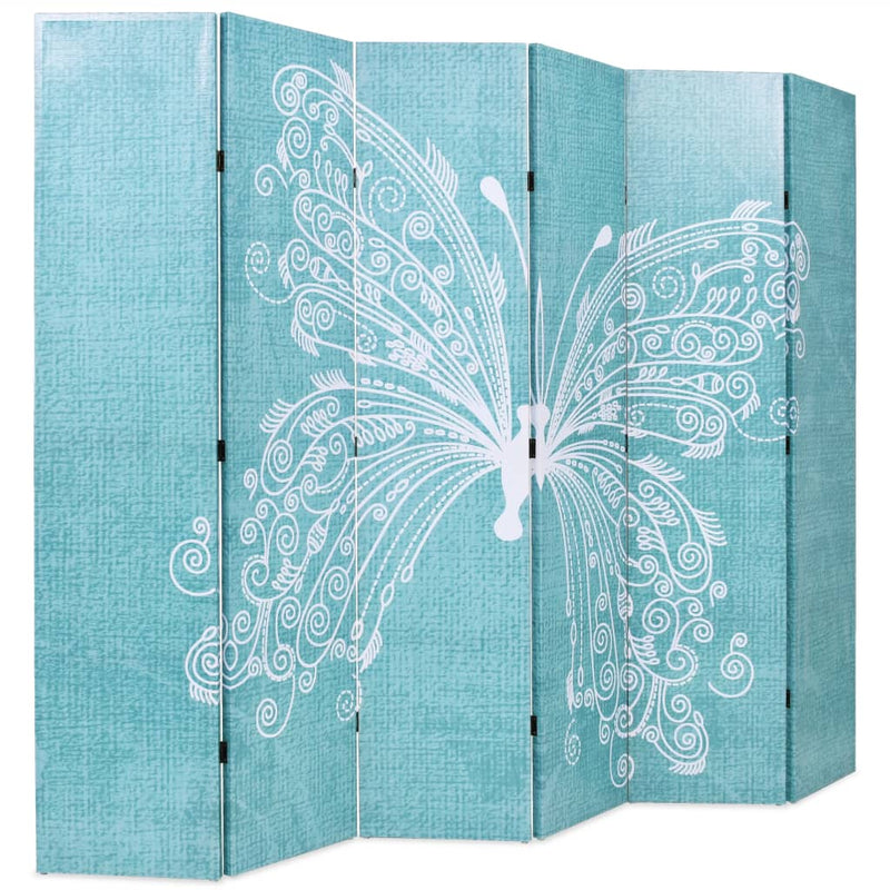 Folding Room Divider 228x180 cm Butterfly Blue