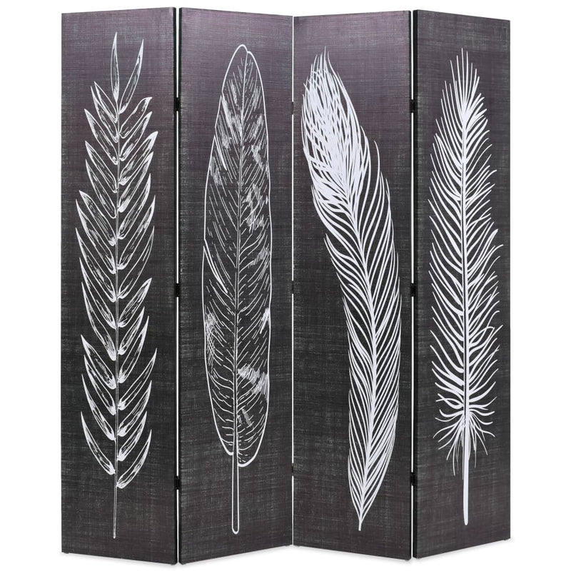 Folding Room Divider 160x170 cm Feathers Black and White